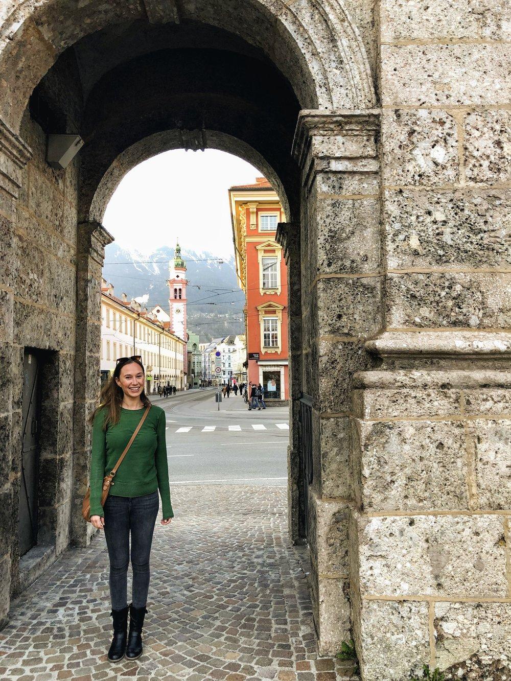 Under the Triumphal Arch in Innsbruck Austria