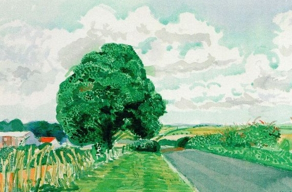 David Hockney - Road and Tree near Wetwang
