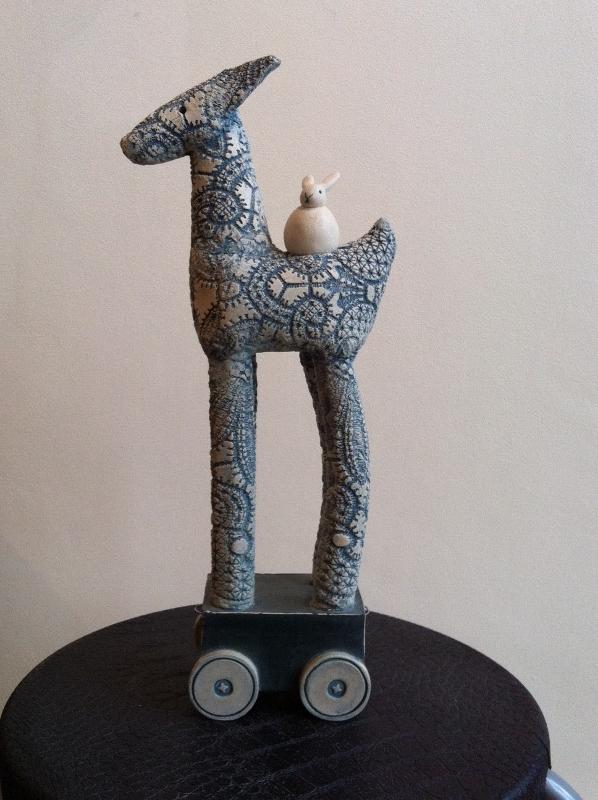 Jackie Needham - Large Blue Llama With Wheels