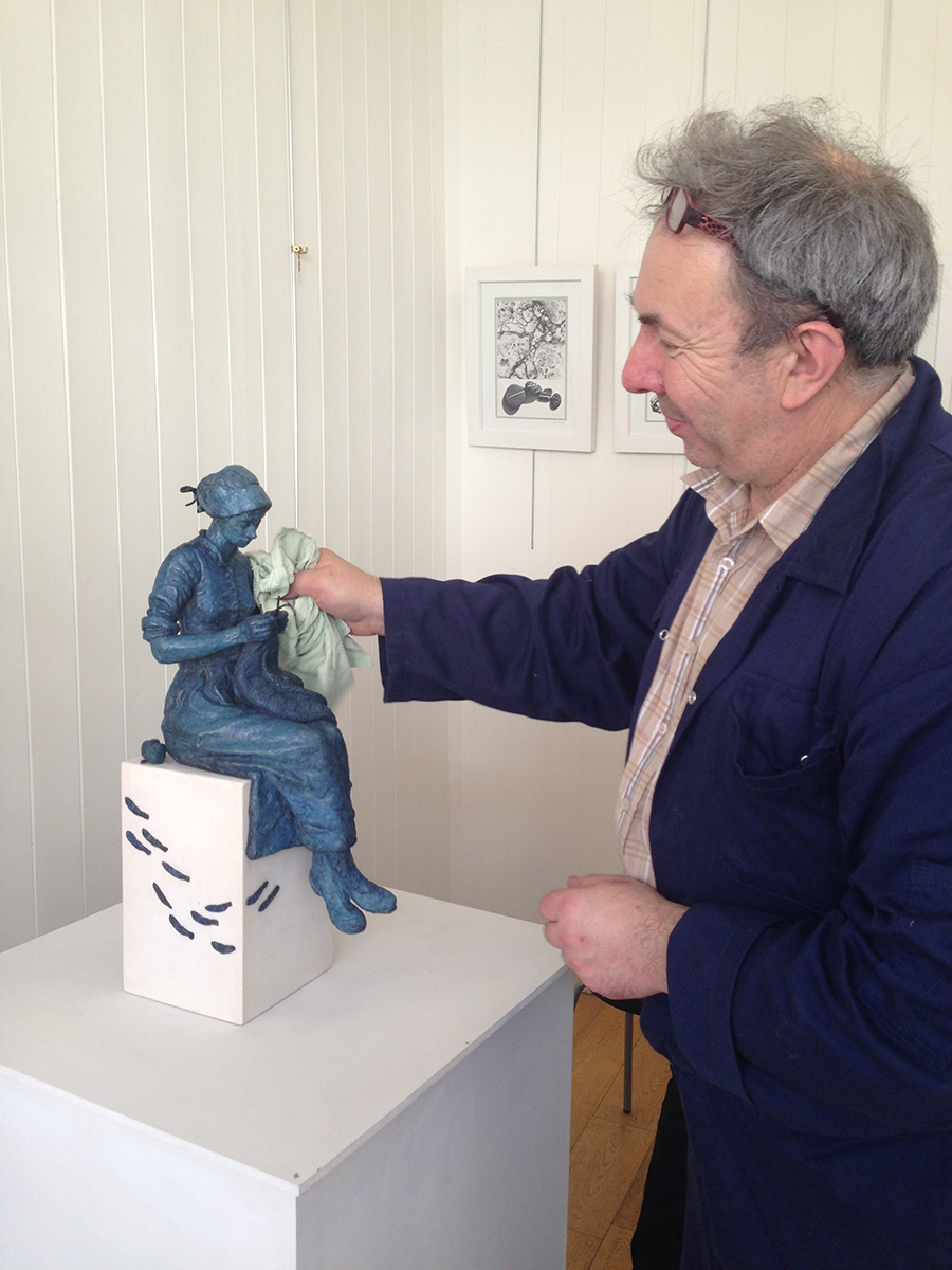 Stephen Carvill - With Gansey Girl Sculpture