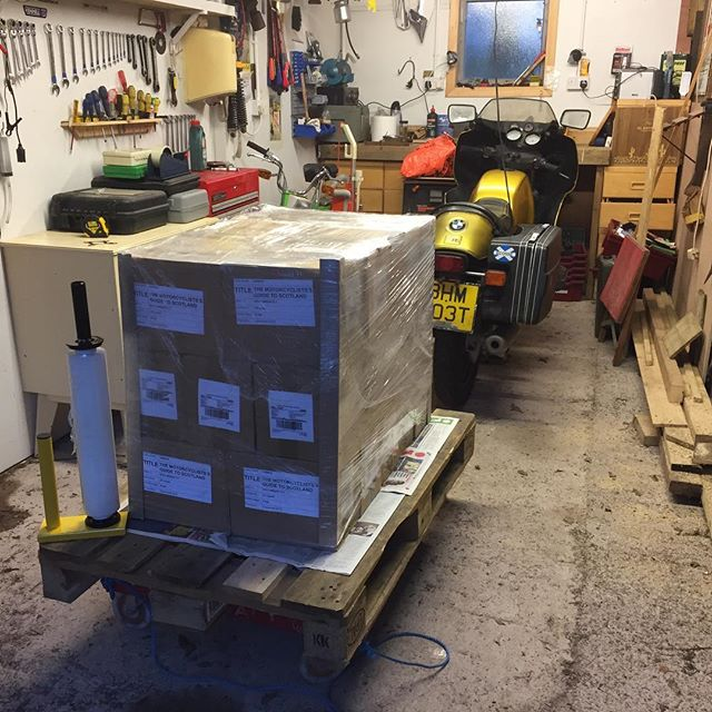 "Yesterday I learned a new skill: pallet wrapping. A batch off books off to the ""Fulfilment Centre"". More books required to satisfy the demand since The Motorcyclist's Guide to Scotland was discussed on BBC Radio Scotland's Out Of Doors. Never doubt the power of the spoken word."