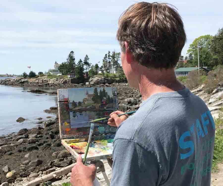 Brad painting en plein air at grimes cove, ocean point, east boothbay, maine