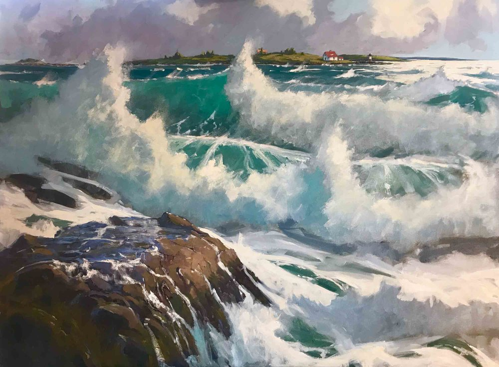 """Storm Surf on Ocean Point"", 30""x40"" oil painting by Brad Betts, ASMA"