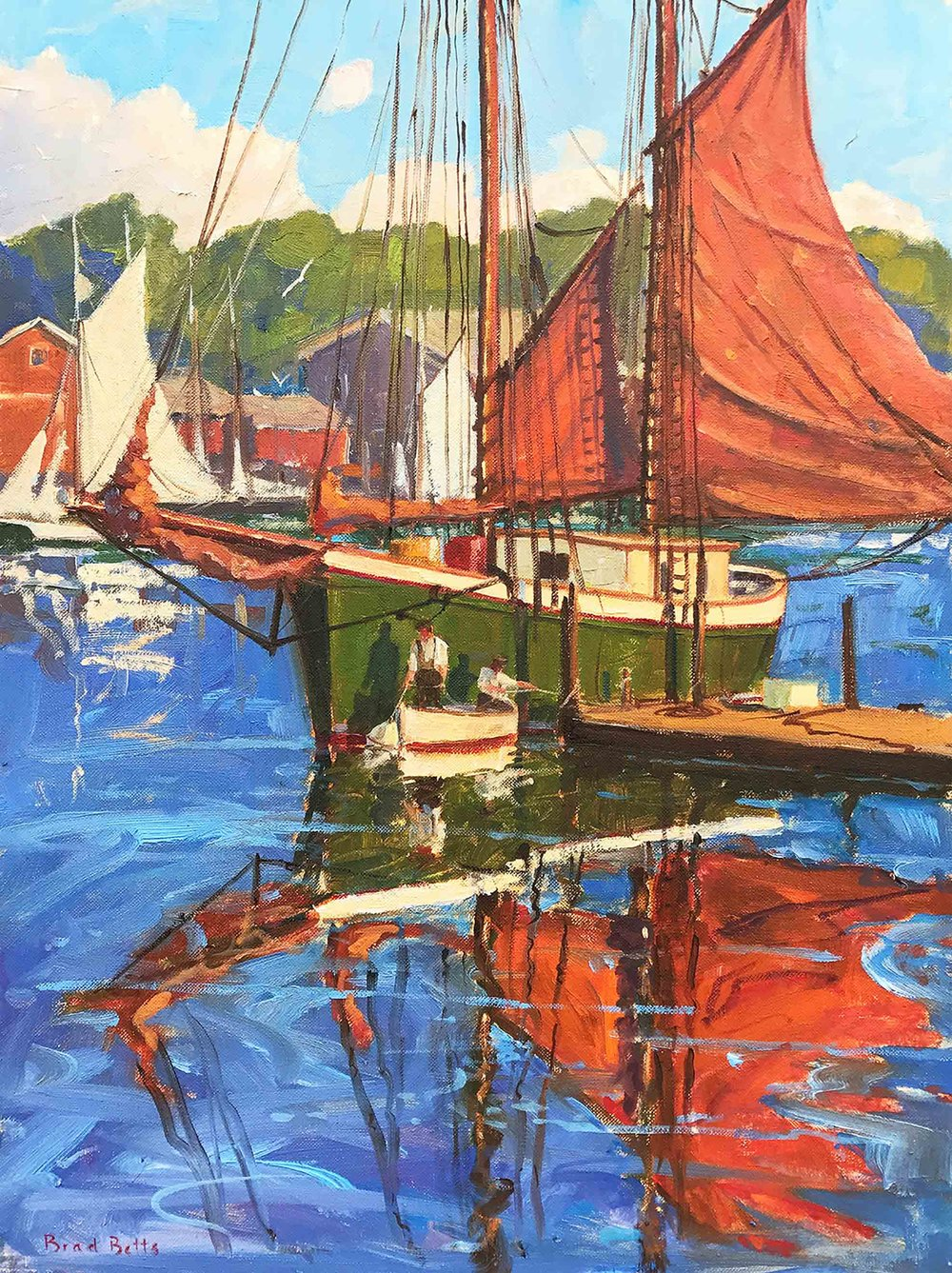 """Drying Sails in Camden Harbor"", 24x18, oil on canvas"