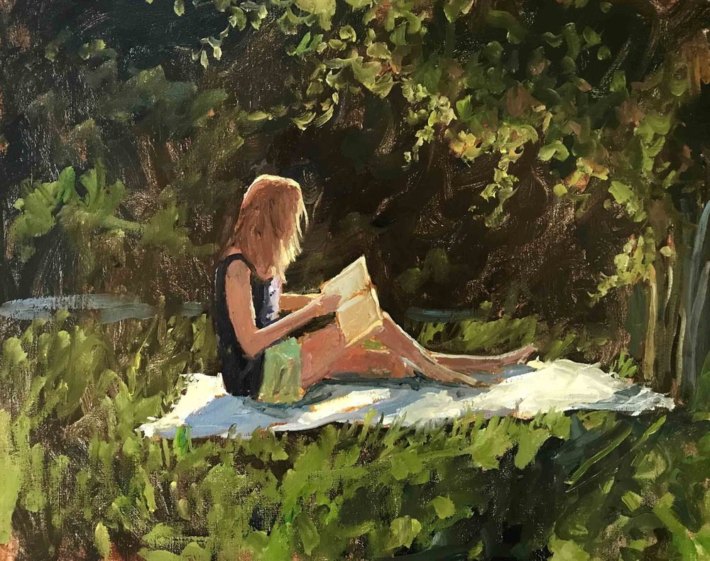 Reading in the Grove, 11x14 en plein air oil painting by Brad Betts.