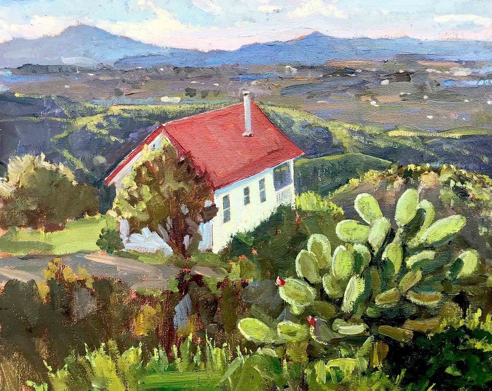 View from Horton Cottage, 8x10 en plein air oil painting by Brad Betts