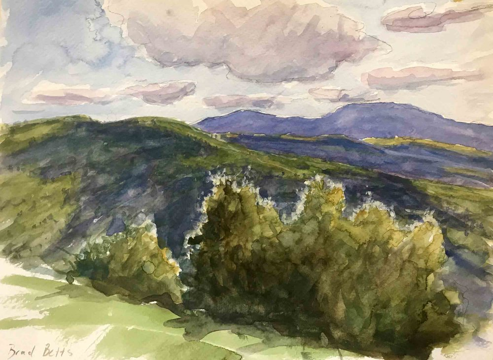 Watercolor study of a mountain range by Brad Betts, painted from the front porch of Horton Cottage at Dorland Mountain Arts Colony.