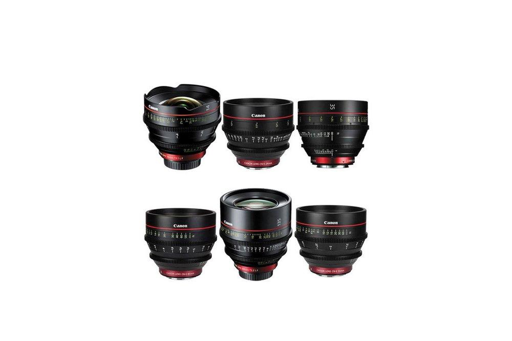 Canon Cinema Prime 6 Lens Set (14, 24, 35, 50, 85 & 135 mm) - 150 EUR/day, 500 EUR/week