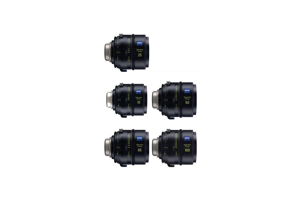 Zeiss Supreme Prime 5 Lens Set (25, 35, 50, 85 & 100 mm) - 1500 EUR/day, 5000 EUR/week