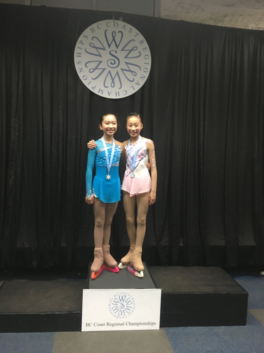 Yena & Luka after their Gold and Silver free program performances