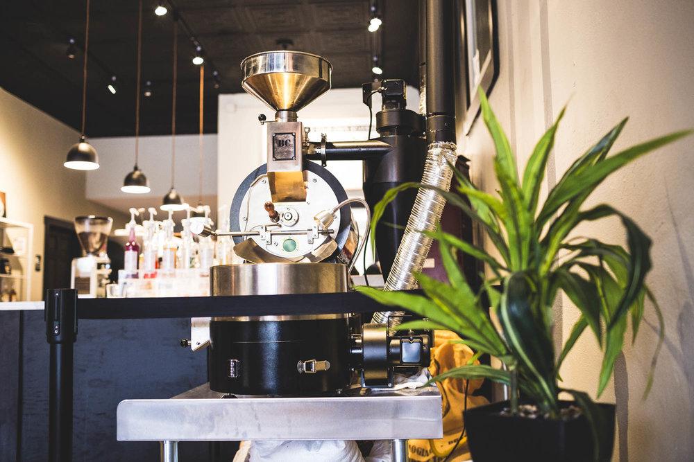 coffee roaster inside modern shop