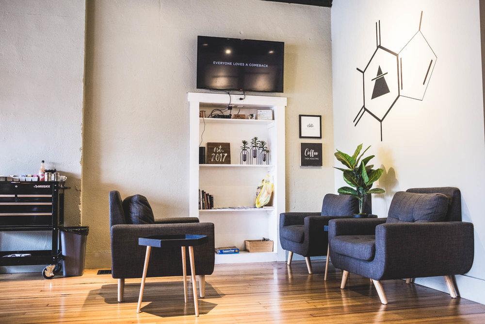indoor coffee shop modern seating area