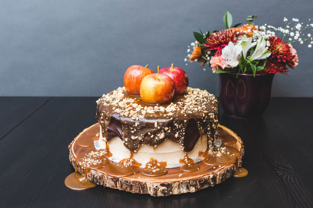 fall cake with apple cider and peanut butter caramel and chocolate