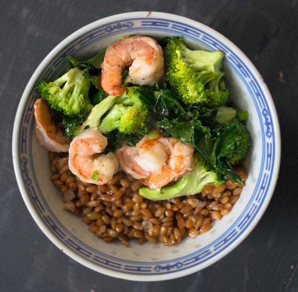 Shrimp + Broccoli + Kale + Wheat Berries