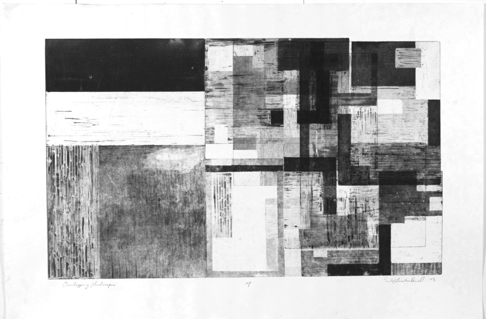 Overlapping Landscapes, Aquatint etching, 90x60cm, 2008.