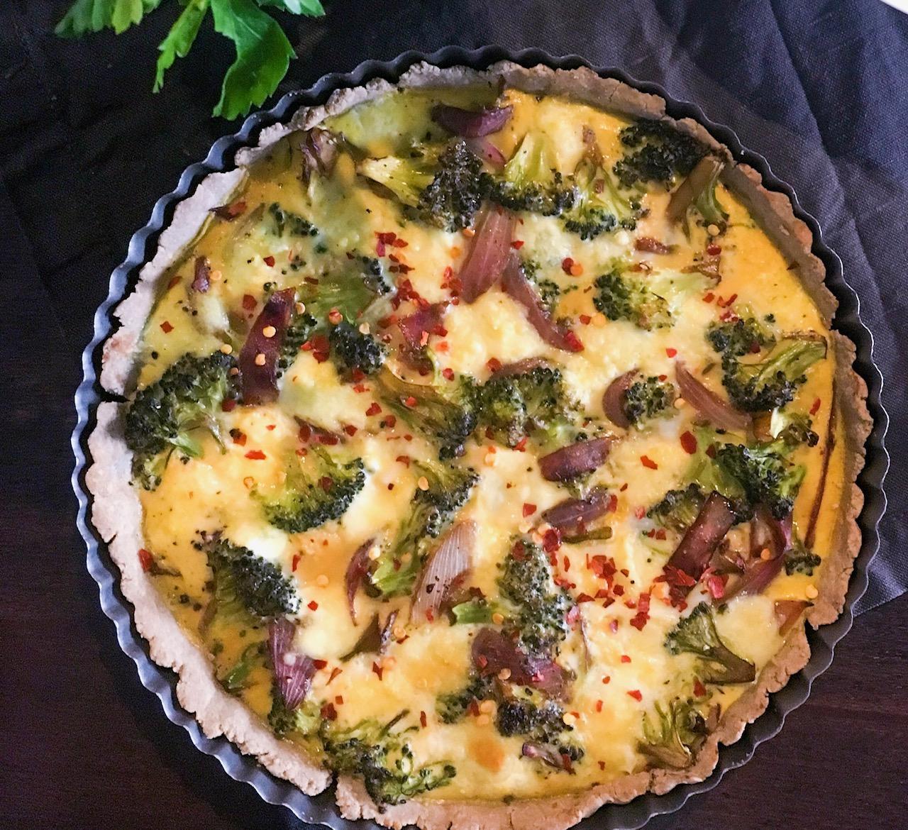 Gluten Free Broccoli & Caramelised Onion Quiche