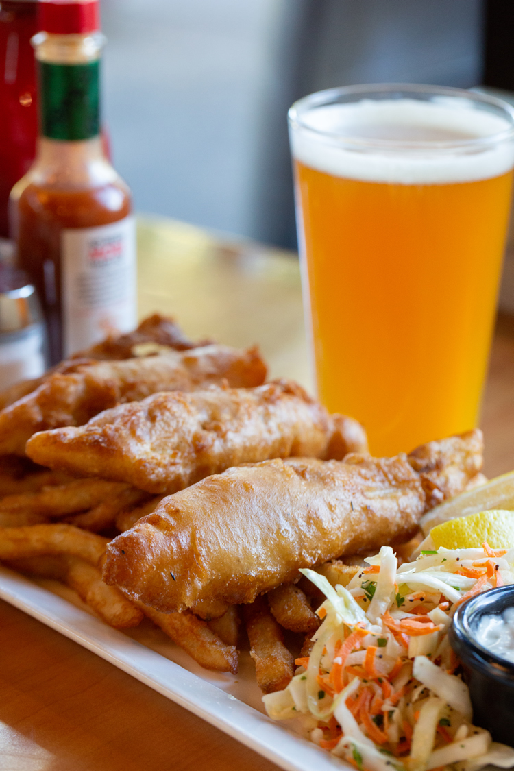 Fish + Chips with coleslaw and a cold beer…