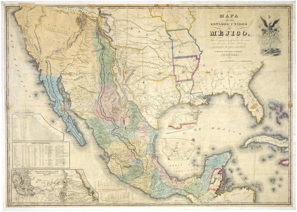Mapa de los Estados Unidos de Méjico : segun lo organizado y definido por las varias actas del congreso de dicha républica y construido por las mejores autoridades. by John Disturnel (1847)