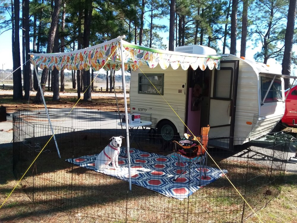 Honeybear - A 1984 Scotty Gaucho trailer, Honeybear is the oldest and wisest member of the team. Measuring just 13 feet from end to end, Honeybear contains the necessities: a small kitchen, a bed, and a table. This simplicity leaves no room for wasted space or extra junk.