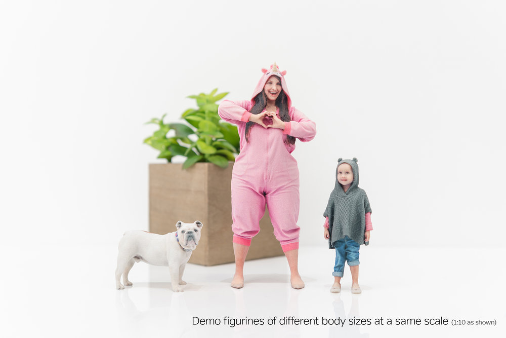 Demo figurines of different body sizes at a same scale (1:10 as shown)