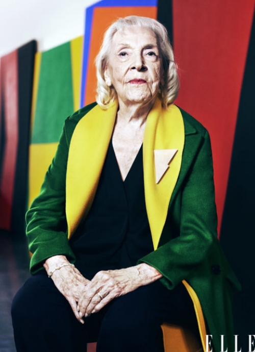 Enjoying recognition for her work later in life, Cuban artist Carmen Herrera is currently experiencing what the art world refers to as 'the death effect.' Photo courtesy of Elle magazine.