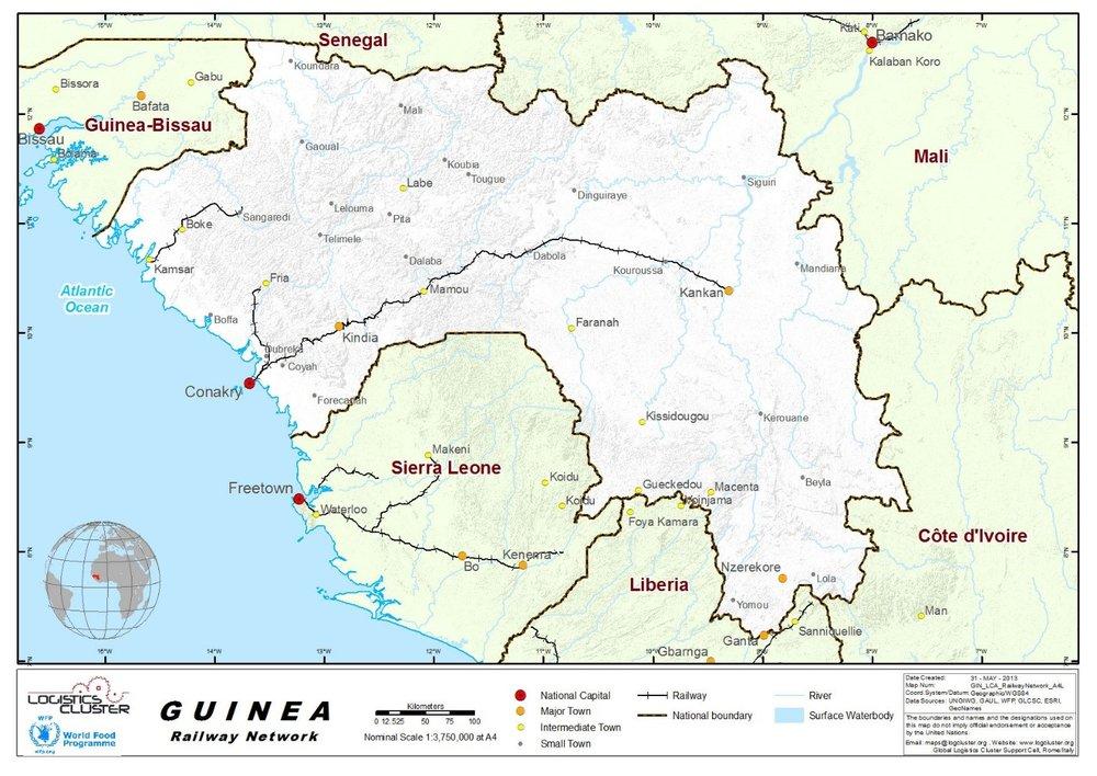 Rail map of Guinea