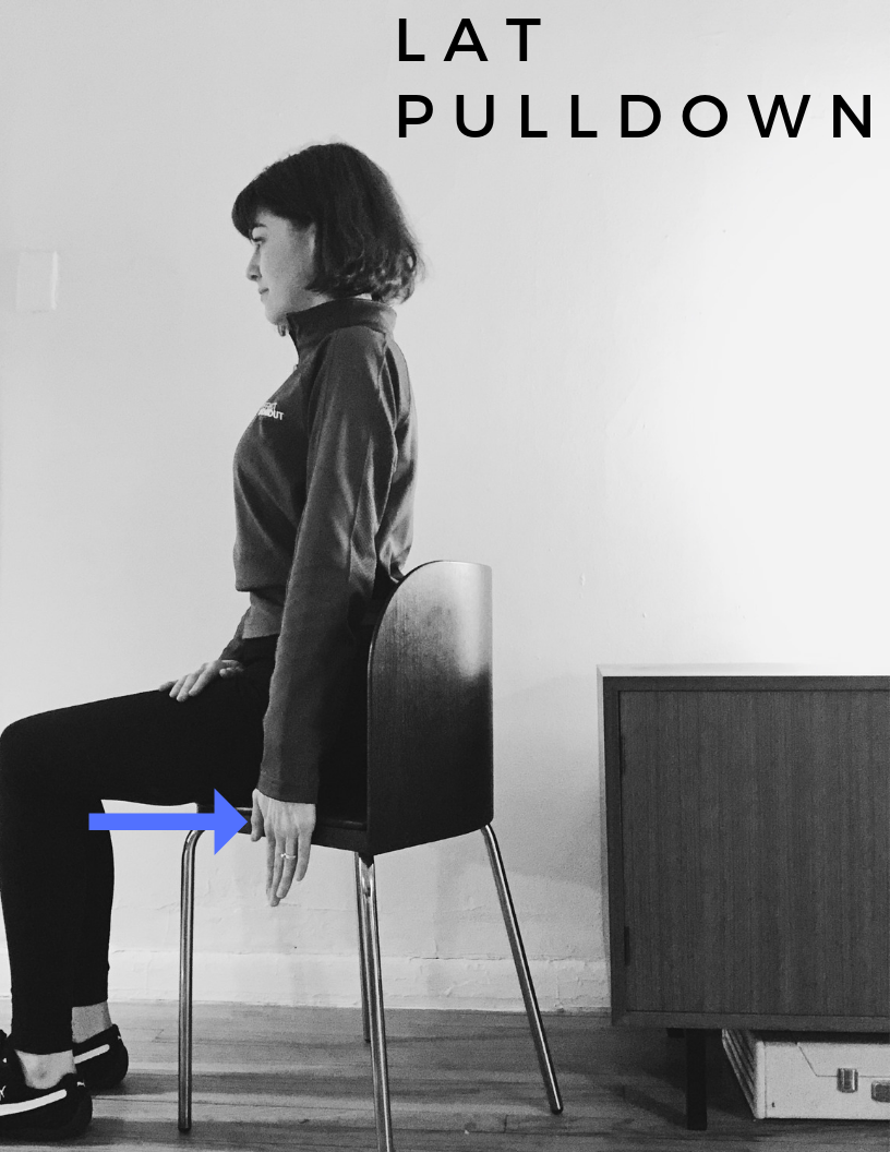 POSITION: Sitting in a Chair with Knees at a 90 Degree Angle, Head Neutral, Tall Posture with Shoulders Back, Feet are Hip Width Apart.    WORKOUT: Straighten one arm and press heel of palm into chair and squeeze lat and tricep muscles for 30 seconds for novice, 1 minute for intermediate and 1-2 minutes for advanced. Switch arms. REPEAT TWICE.    MUSCLES ENGAGED: Latissimus Dorsi, Trapezius, Rhomboid, Triceps Brachii, Deltoid