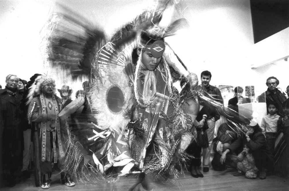 "William Clements performs the eagle dance at the opening celebration for the ""Native American Crafts"" exhibit, March 1993. (OCAC)"