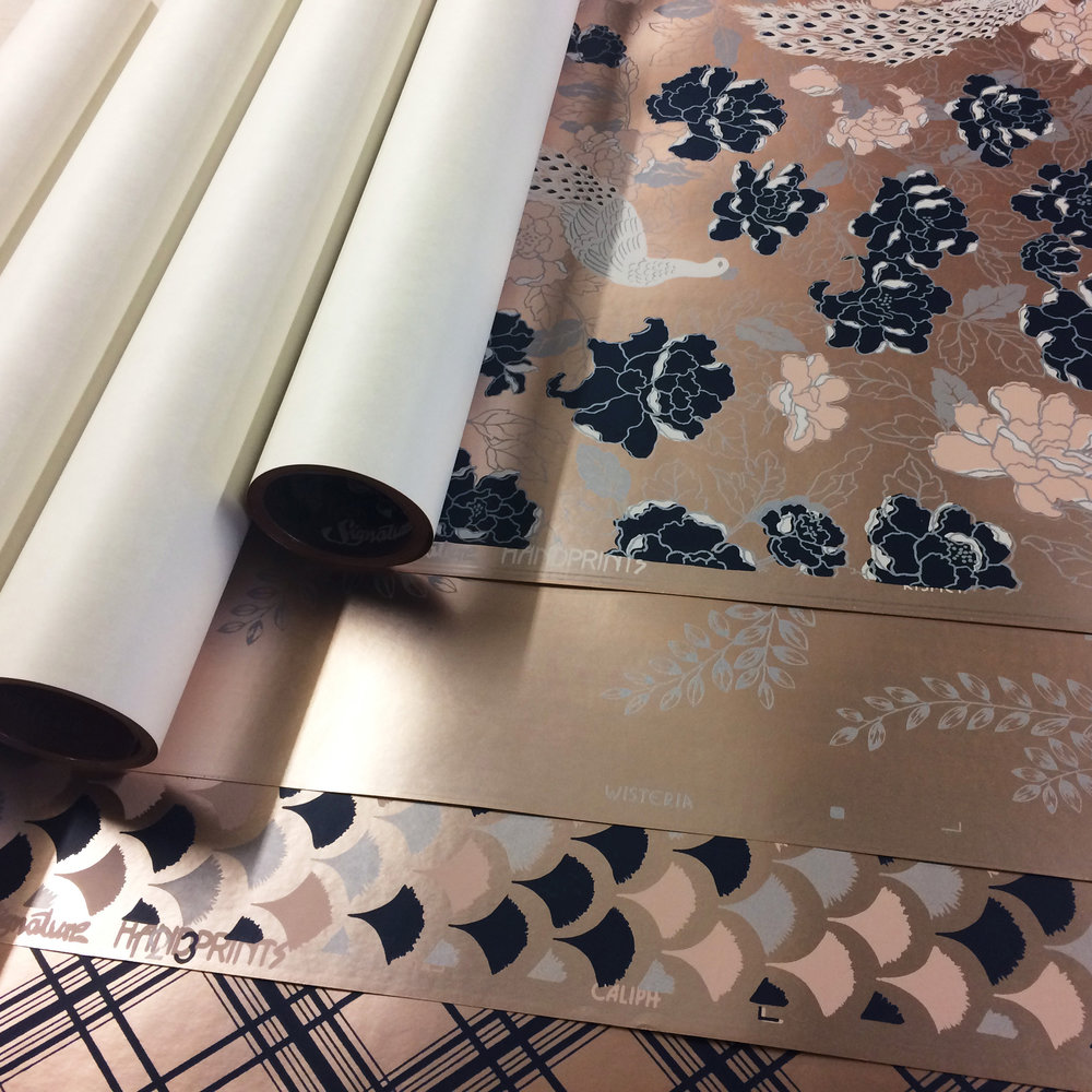 Hand-printed Products - View our range of hand silk-screen printed wallpapers, or talk to us about our bespoke services.