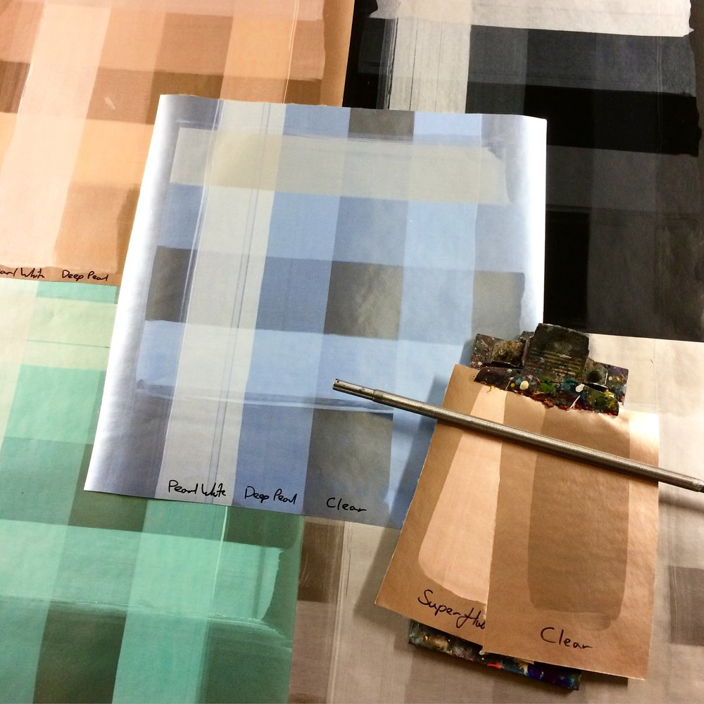 Above: testing translucent inks on our coloured metallic wallpaper bases.