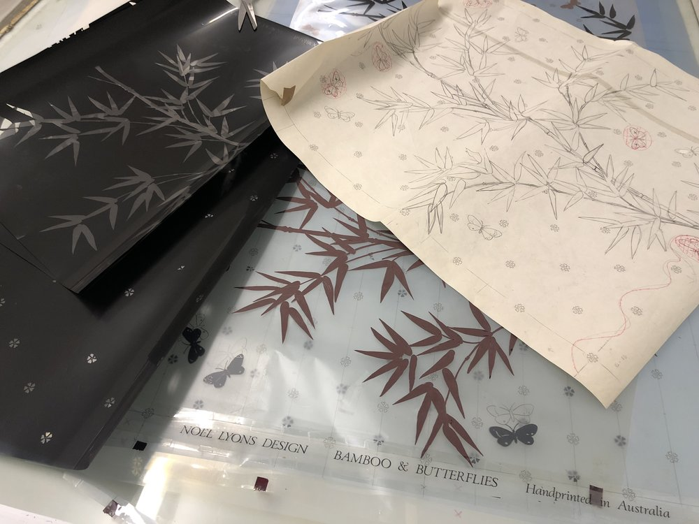 'Bamboo & Butterflies by Australian designer Noel Lyons – this image shows his original sketch for the design, and the film positives that we use to expose the design onto a silk screen for printing.