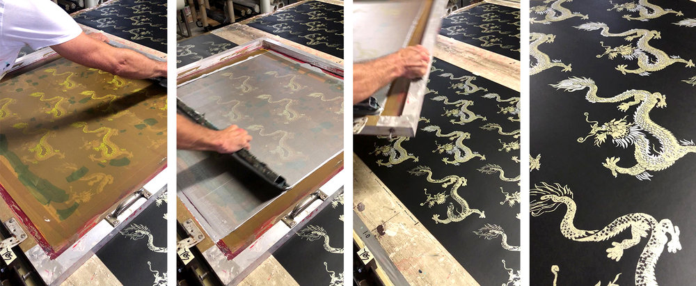 Printing in action: here we are adding the accent layer to our Dragons wallpaper using Metallic Silver ink.