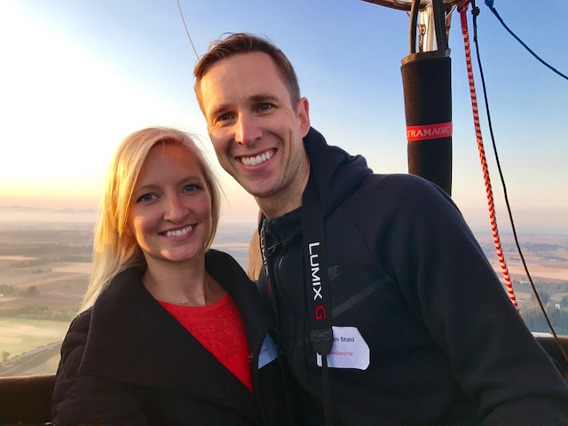 A surprise hot air balloon ride for Inger Lise's birthday -