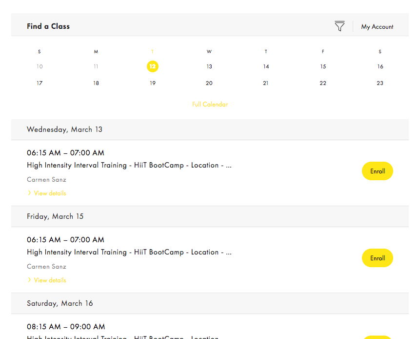 Saint Fitness group fitness class schedule with MindBody