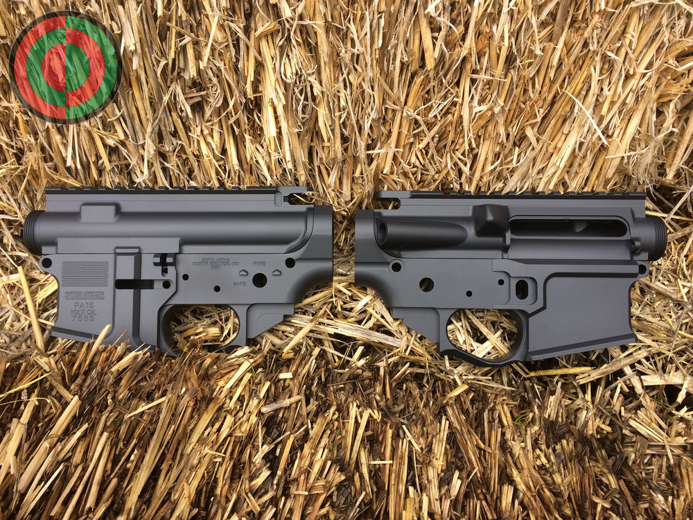 A dual set of a receivers in Cerakote Magpul Stealth Grey.