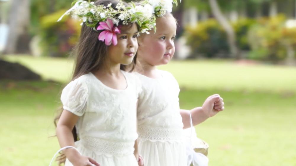 Hawaii flower girl garland
