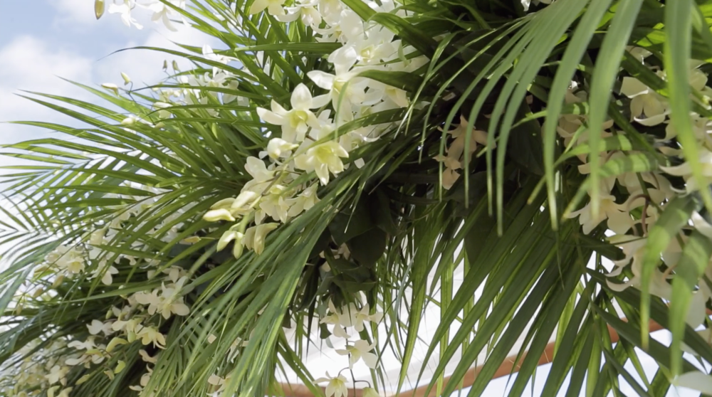 Palm inspired wedding decor // Kauai wedding