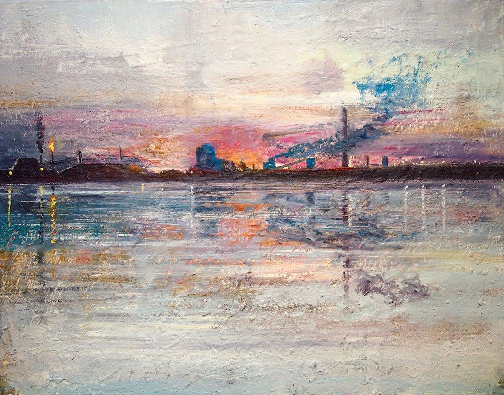 Port Talbot, Reflections - 50 x 40 cm