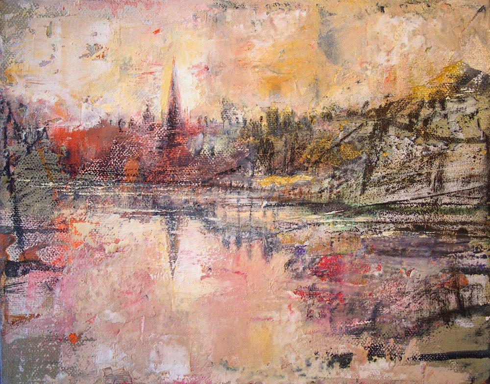 River Taff Llandaff Cathedral 20 x 25 cm
