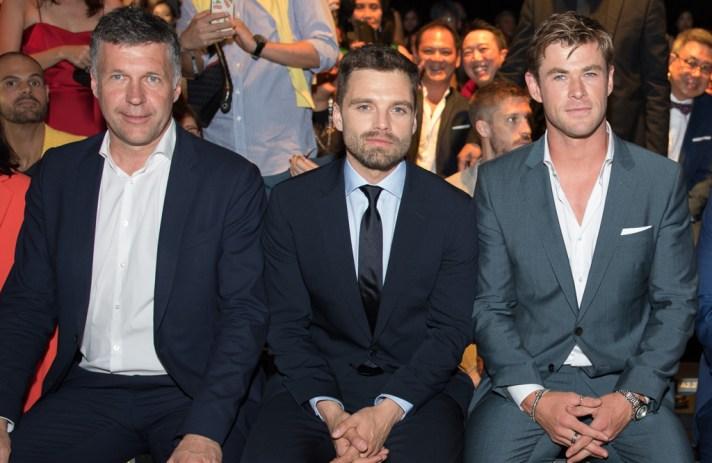 Bernd Hake (CSO HUGO BOSS), Sebastian Stan, and Chris Hemsworth in BOSS