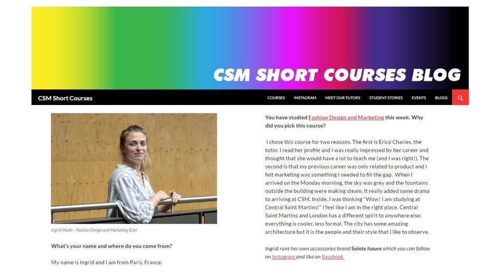 Avril 2016 : article du blog CSM Short courses - Ingrid Monti à la Central Saint Martins School de Londres.