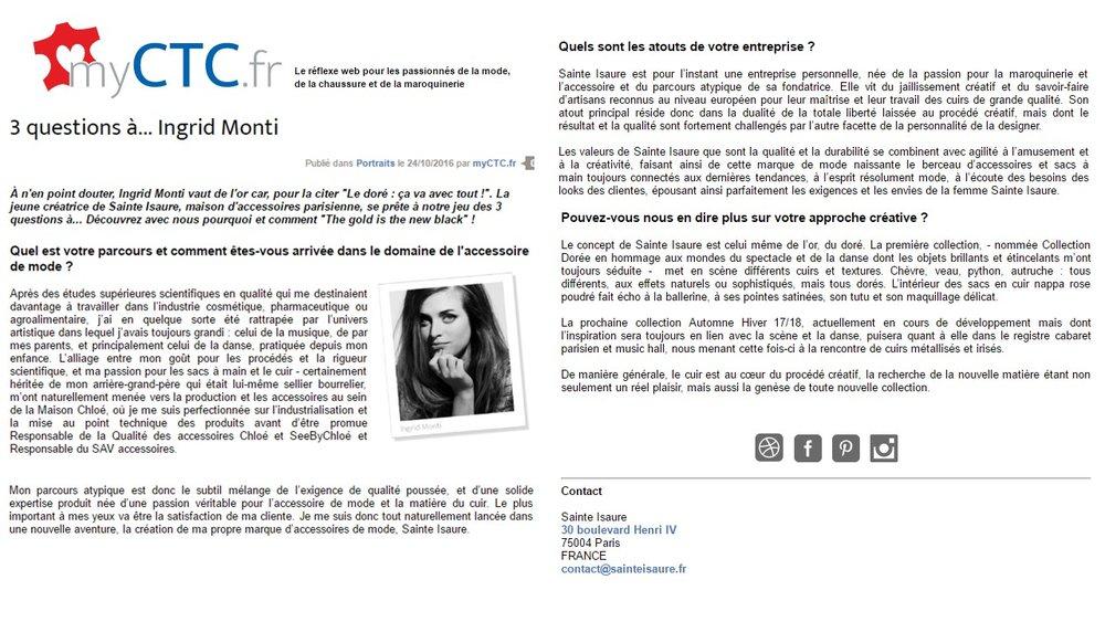 Octobre 2016 : Article du blog My CTC - Interview d'Ingrid Monti, créatrice de la marque Sainte Isaure.