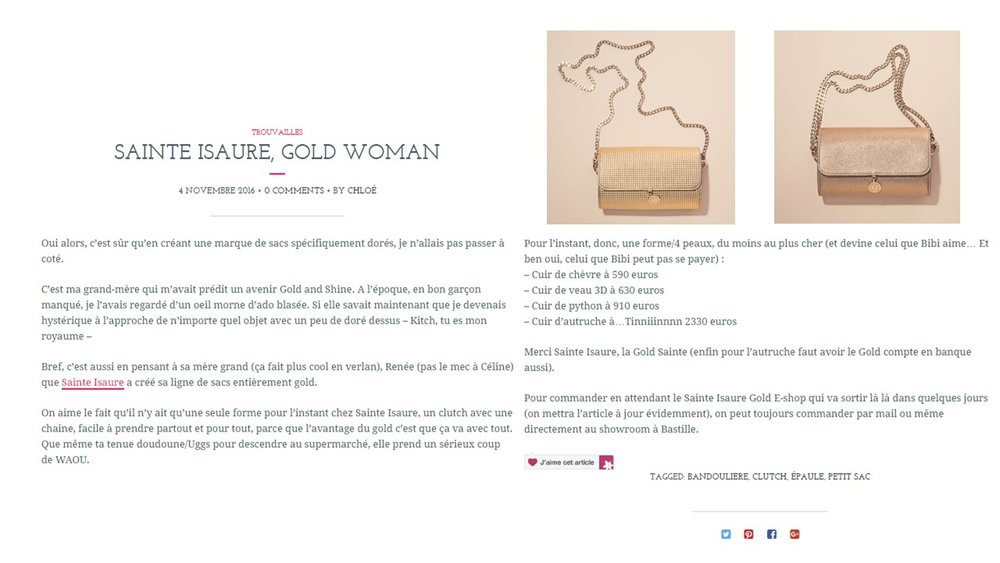 Novembre 2016 : Article du blog Bags and Bubbles - « Sainte Isaure, gold woman ».