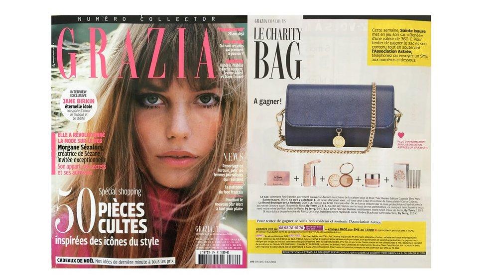 Décembre 2016 : Journal Grazia France – Renée collection capsule Bleu Nuit est le Charity bag.