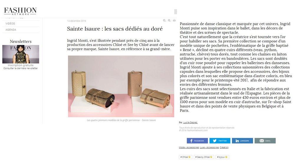 Décembre 2016 : Fashion Network – « Sainte Isaure : les sacs dédiés au doré »
