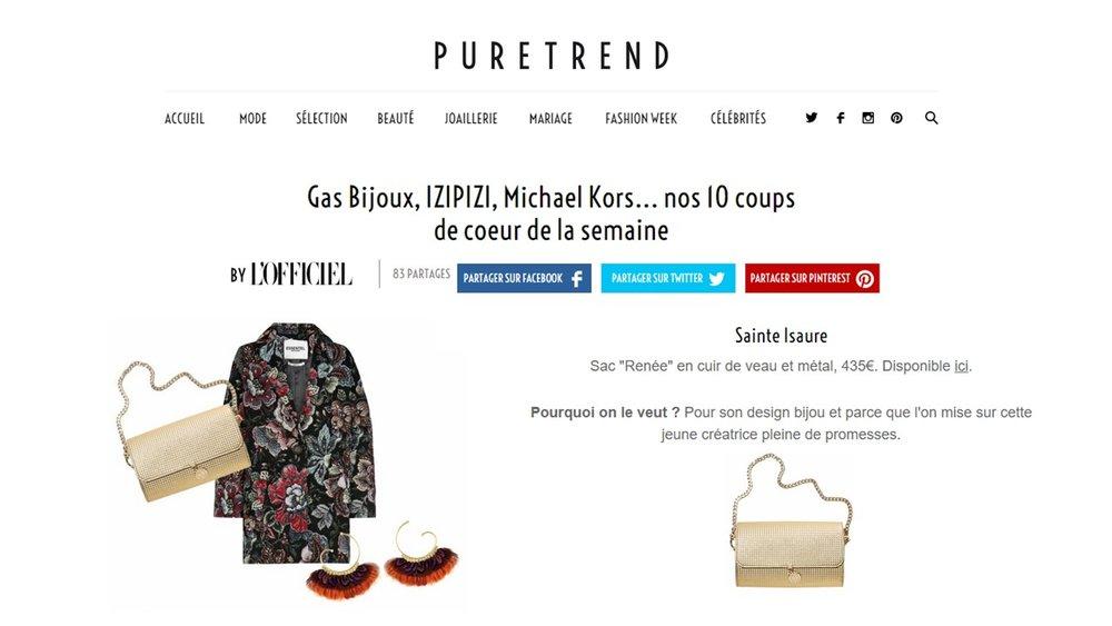 Janvier 2017 :  puretrend.com  L'OFFICIEL en ligne – Renée veau 3D dans les 10 coups de cœur de la semaine.