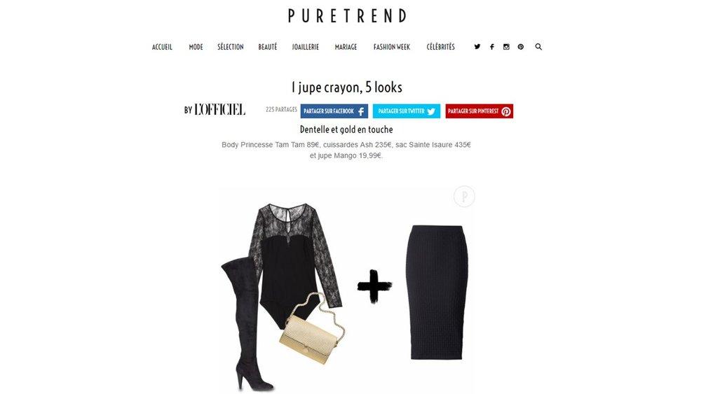 Janvier 2017 :  puretrend.com  L'OFFICIEL en ligne – Le sac Renée 3D accessoirise la jupe crayon.