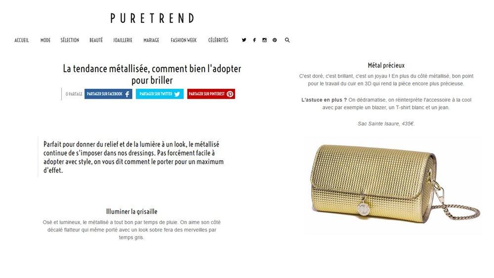 Mars 2017 : Puretrend.com L'OFFICIEL en ligne – Renée 3D en plein dans la tendance métallisée.
