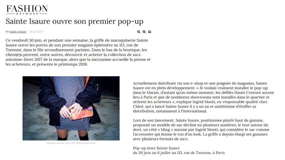 Juin 2017 : Fashion Network – Sainte Isaure ouvre son premier pop up
