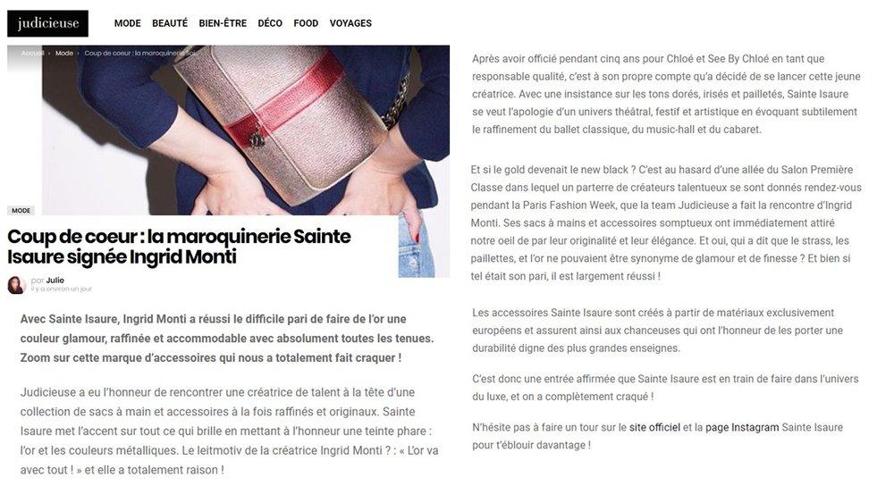 Mars 2018 : Judicieuse.fr – Sainte Isaure est le coup de cœur de la rédaction
